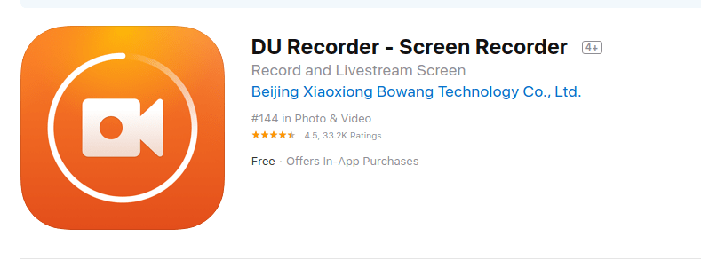 Du recorder-best iOS Screen recorder app 2019-2020-2021-2022-2023