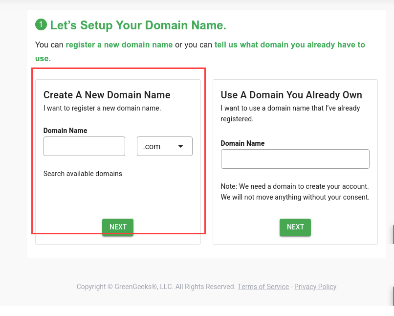 greengeeks-setup-domain-name-option